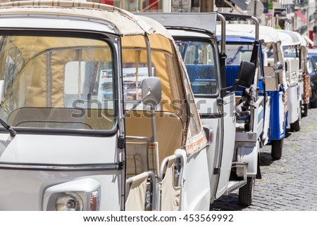 tuk-tuk - small transport for tourists on european street