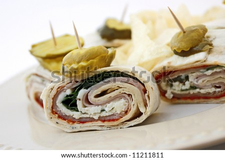 Tukey wrap lavash on a plate with white background - stock photo