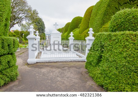 TULCAN, ECUADOR - JULY 3, 2016: tulcans graveyard is traditional known for its topiary garden