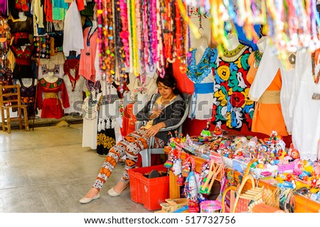 TULE, MEXICO- OCT 31, 2016: Market place with the original traditional Mexican souvenirs and clothing, which are popular among the tourists.