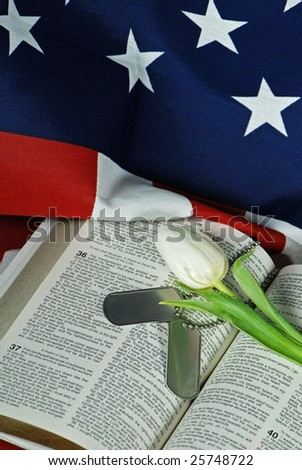 tulip and dog tags on bible - stock photo
