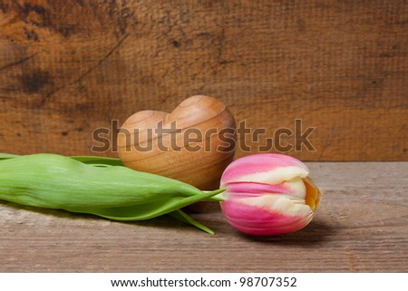 Tulip and wooden heart on a plank with wooden background.