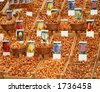 tulip bulbs for sale at the flower market in Amsterdam - stock photo