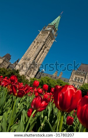 Tulip festival at the Canadian Parliament in Ottawa - stock photo