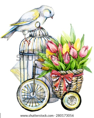 Tulip Flowers, canary bird and decorative birdcage. watercolor illustration background - stock photo