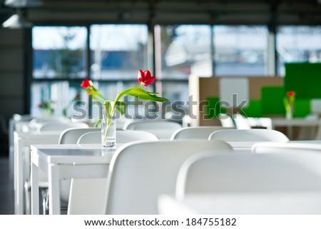 Tulip in the vase in public food court - stock photo