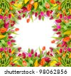 Tulips frame with free space for your text - stock photo
