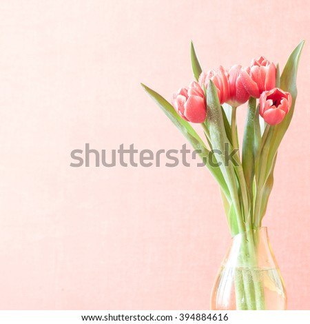 tulips in a vase vintage square photo with copy space