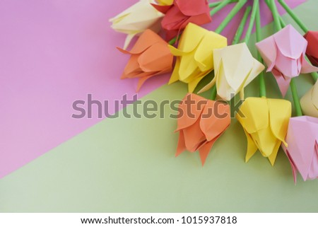 tulips origami multicolored paper on background stock photo royalty