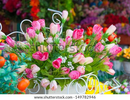 Tulips of the fabric, floral background. - stock photo