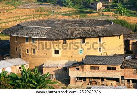 Tulou, traditional dwelling of ethnic Hakka in Yongding, Fujiang province, China - stock photo