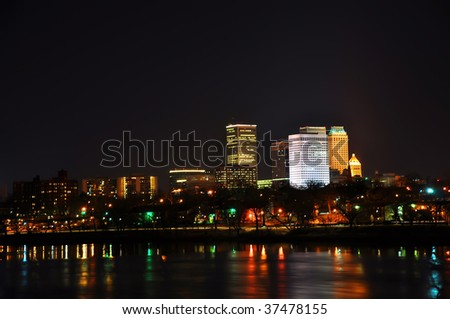 tulsa city skyline seen at night - stock photo