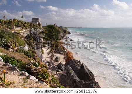 tulum ancient Mayan archaeological site yucatan mexico - stock photo