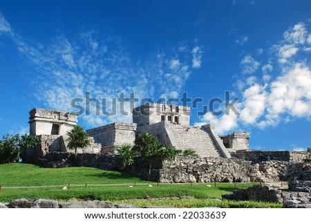 Tulum ruins in Mexico. El Castillo de Tulum - stock photo