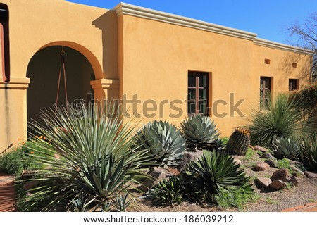Tumacacori National Historical Park in Arizona features gardens, Spanish-style buildings and missionary ruins. - stock photo