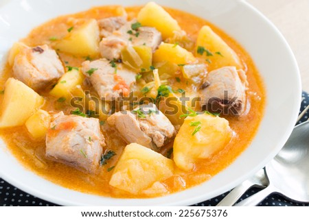Tuna and potato stew called Marmitako in traditional Basque cuisine - stock photo