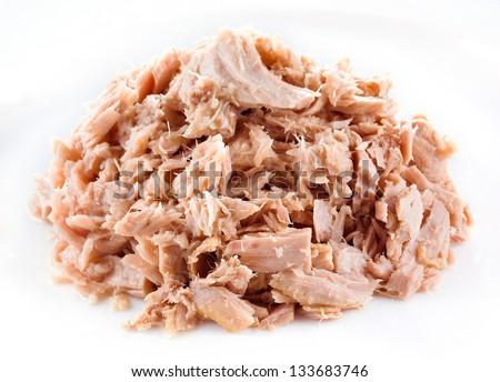 Tuna. canned fish on white - stock photo