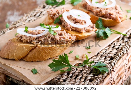 Tuna mash on toasts with onion - stock photo
