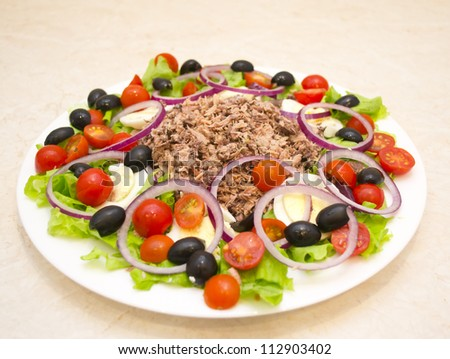 Tuna salad, olives, tomatoes, lettuce, eggs and olive oil - stock photo