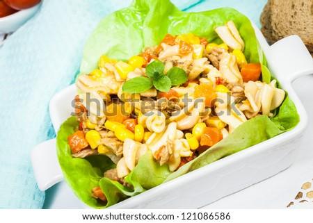 Tuna salad with pasta - stock photo