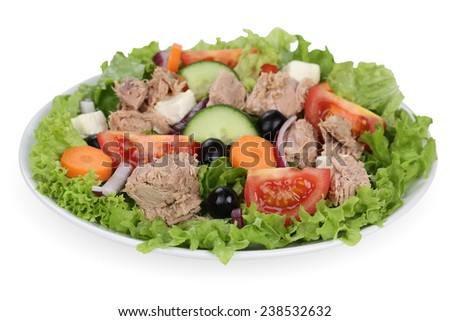 Tuna salad with tomatoes, carrots, feta cheese and olives in bowl - stock photo