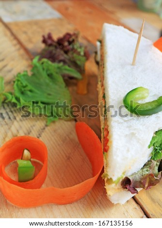 Tuna sandwich with salad vegetables.