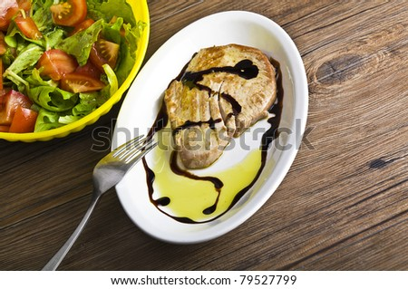 tuna steaks cooked ,oil and balsamic vinegar - stock photo