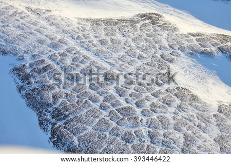 Tundra landscape in winter, aerial view - stock photo