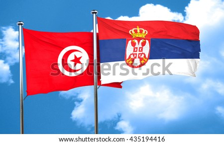 Tunesia flag with Serbia flag, 3D rendering
