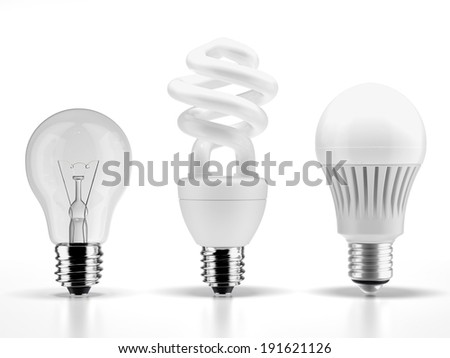 tungsten,fluorescent and LED bulbs - stock photo