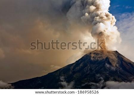 Tungurahua volcano eruption, Ecuador  - stock photo