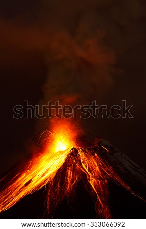 Tungurahua Volcano Exploding In The Night Of 28 11 2011 Ecuador Shot With Canon Eos Mark Iv Converted From Raw Small Amount Of Noise Visible At Full Size  - stock photo