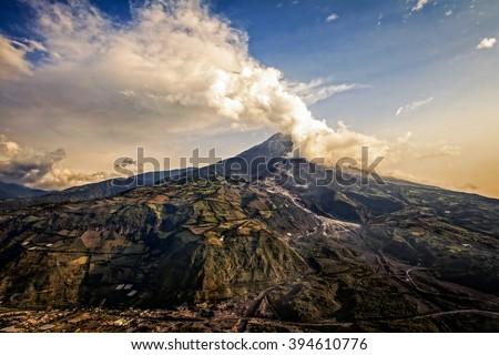 Tungurahua Volcano, Intense Strombolian Activity At Sunset, Aerial View, February 2016, Ecuador, South America  - stock photo