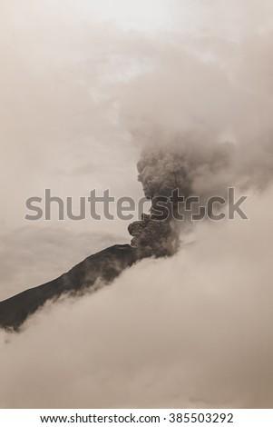 Tungurahua Volcano Spews Columns Of Ash And Smoke, February 2016, South America  - stock photo
