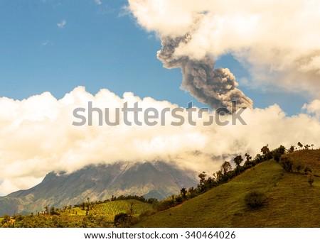 Tungurahua Volcano, Violent Day Explosion In Ecuador, South America - stock photo