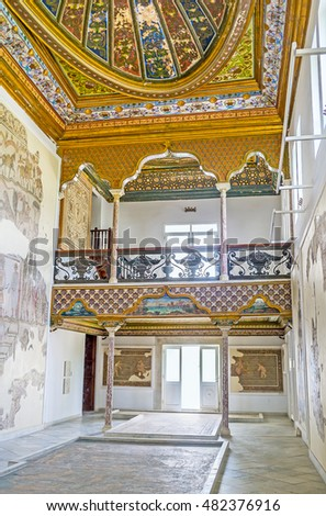 TUNIS, TUNISIA - SEPTEMBER 2, 2015: The Althiburos Room of Bardo National Museum preserved its interior since it belonged to the medieval Hafsid Palace, on September 2 in Tunis.