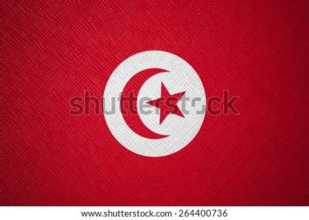 Tunisia flag leather texture - stock photo