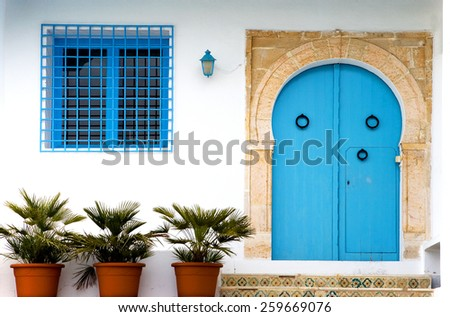 Tunisia, Sidi Bou Said, a traditional house entrance in the country center - stock photo