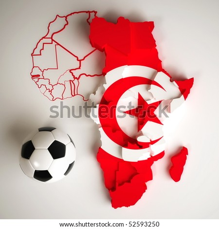 Tunisian flag on map of Africa with national borders