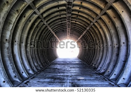 Tunnel. Abandoned military base - stock photo