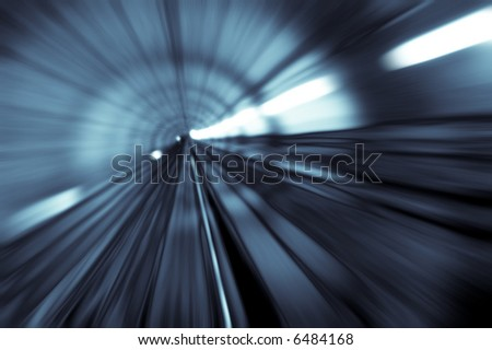 tunnel abstract with motion blur in monotone