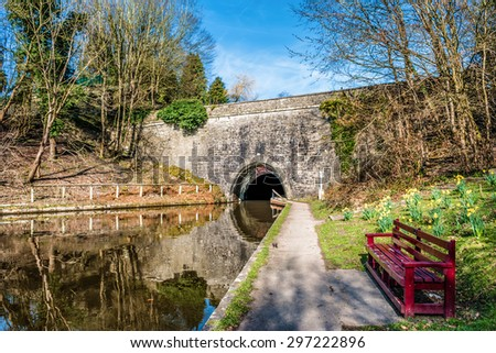 Tunnel entrance on The Llangollen canal in Wales - stock photo