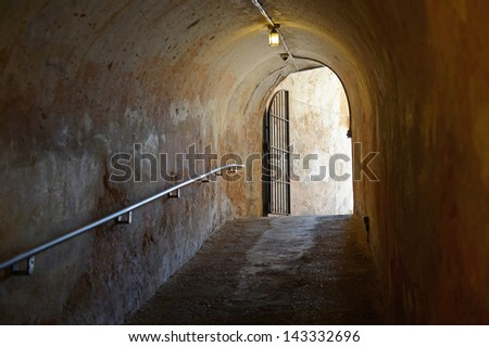 Tunnel exit in San Cristobal Fort in San Juan Puerto Rico - stock photo