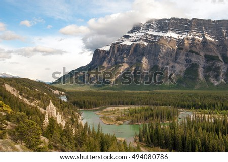Tunnel mountain and hoodoos in Banff national park, Canada