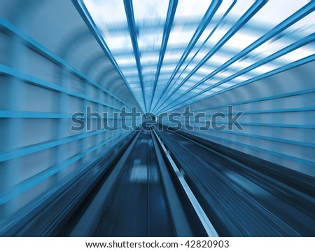 Tunnel of railway - stock photo