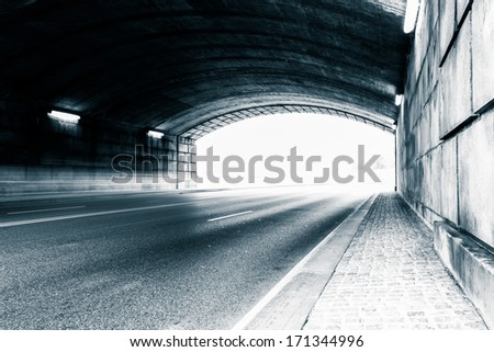 Tunnel on a road in Washington, DC. - stock photo