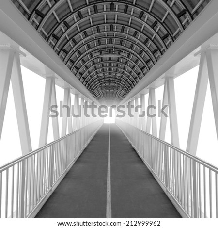 Tunnel overpass isolated on white background with clipping path.