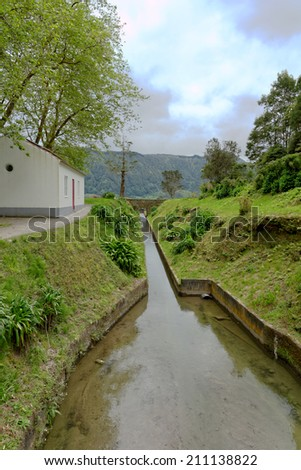 Tunnel to Santiago lagoon on the island of Sao Miguel, Azores, Portugal - stock photo