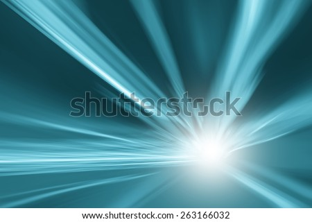 Tunnel turquoise blue color lights acceleration speed motion blur background. Motion blur visualizies the speed and dynamics. - stock photo