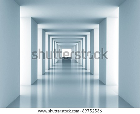 Tunnel with white wall. Computer generated image - stock photo